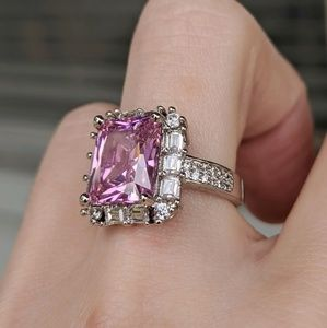 🆕S925-Pink & White Sapphire Ring Sz 7